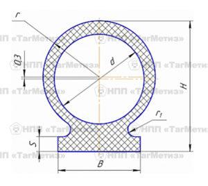 Профили резиновые c круглой головкой со смещенным внутренним отверстием ОСТ 1 14258-82